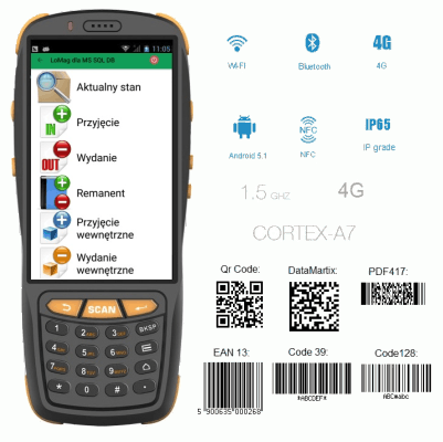 Kolektor danych z systemem Android do obsługi magazynu