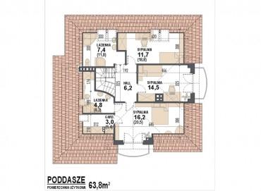 Projekt domu Opałek rzut poddasza